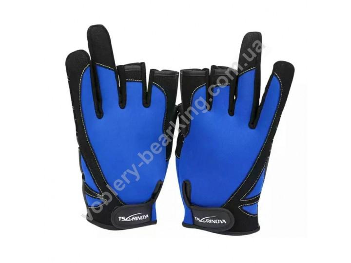 Перчатки для рыбалки Tsurinoya Черные/Синие